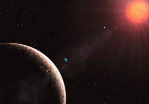 Consepção artística do planeta Gliese 581d e de sua estrela Gliese 581