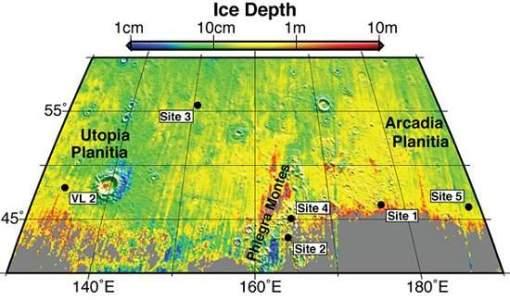 Locais e profundidades onde foram fotografadas as ocorrências de água congelada em Marte.